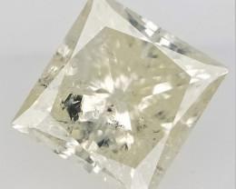 0.98 CTS , Light Yellow Color Diamond , Princess Brilliant Cut