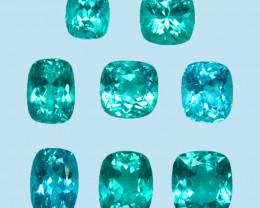 7.15 Cts NATURAL BLUE GREEN APATITE CUSHION BRAZIL GEM