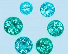 4.81 Cts NATURAL BLUE GREEN APATITE ROUND BRAZIL GEM