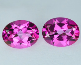 ~Raspberry pink 6.48 Cts Natural Topaz 10 X 8mm Oval Matching pair  Brazil