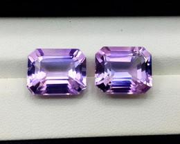 Amethyst Pair, 19.75 Cts Natural Top Color & Cut Amethyst Gemstones