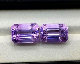 Amethyst Pair, 23.80 Cts Natural Top Color & Cut Amethyst Gemstones