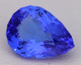3.39Ct Natural Vivid Blue Tanzanite IF Flawless Pear Master Cut C1601