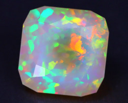 3.98Ct Bright Neon Rainbow Flash Color Play Faceted Welo Opal A1703