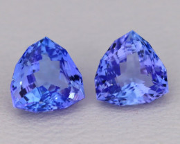 Tanzanite 2.20Ct 2Pcs VVS Master Cut Natural Purplish Blue Tanzanite A1705