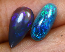 2.14Ct 2Pcs Australian Lightning Ridge Dark Black Opal A1706