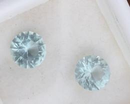 1.82tcw matched pair of Unheated medium blue aquamarine