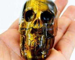 Genuine1120.00 Cts Golden Tiger Eye  Hand Carved Skull