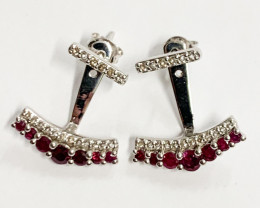 Natural Red Ruby And Topaz ~ Silver Earring