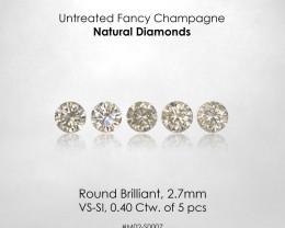 No Reserve ! 2.7mm Fancy Champagne Natural Diamonds 0.40ct/5pcs Selection S
