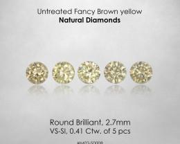 No Reserve ! 2.7mm Fancy Yellow Natural Diamonds 0.41ct/5pcs Selection Set
