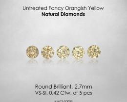 No Reserve ! 2.7mm Fancy Yellow Natural Diamonds 0.42ct/5pcs Selection Set