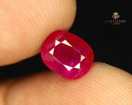 2.83 Carats Natural Cushion Cut Ruby from Tajikistan