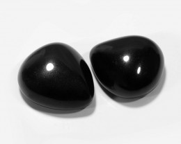 *NoReserve* Black Onyx 24.93 Cts 2 Pcs Natural Loose Gemstone