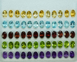 33.24Cts Natural Fancy colour semi precious Oval 6 X 4mm Calibrated  Parcel