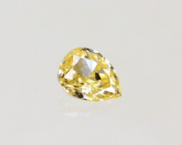 ~UNTREATED~ 0.06 Cts Natural Diamond Fancy Yellow Pear Cut Africa