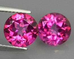 5.00 CTS WONDERFUL COLOR 8.10MM ROUND PINK TOPAZ 2 PCS NR!!