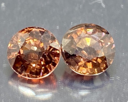 3.80ct t.w  Imperial Champagne Zircon  Pair 2pc  6.5mm UNHEATED