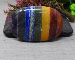Genuine 602.00 Cts  Seven Chakra Hand Carved Cabochon