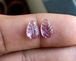 Carved Amethyst Gemstone leaf Pair 100% Natural VA5011