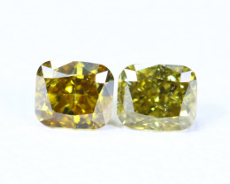 0.26cts NATURAL African Yellow Green Fancy Diamond Pairs / KL1021