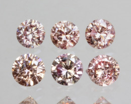 ~UNTREATED~ 0.38 Cts Natural Pink Diamond 2.50mm Round Cut 6Pcs Africa