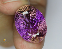 24.69 Carats Oval Hand-carved Cut Natural Ametrine