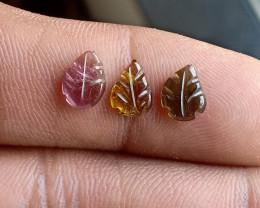 Natural Tourmaline Carved Leaves Genuine Gemstone5082