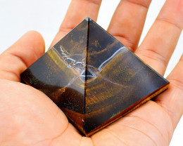 Genuine 755.00 Cts Golden Tiger Eye  Carved Healing Pyramid