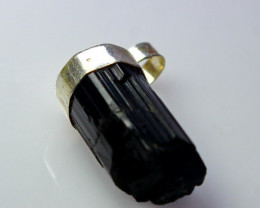 16.00 CTs Natural & Unheated~ Black Tourmaline Pendant With Silver Cap