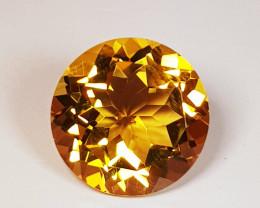 3.29 ct Top Quality Gem Round Cut Golden Orange Natural Citrine
