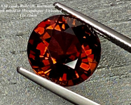 8.6ct  VS Orange Red Rubellite Tourmaline 13mm UNHEATED