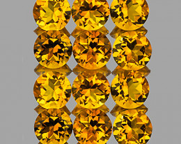 4.00 mm Round 12 pcs 2.60cts Golden Yellow Citrine [VVS]