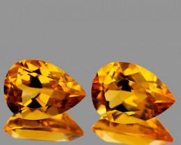 9x6 mm Pear 2 pcs 2.40cts Golden Orange Citrine [VVS]
