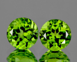6.50 mm Round 2 pcs 2.33cts Green Peridot [VVS]
