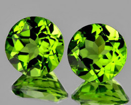 6.50 mm Round 2 pcs 2.12cts Green Peridot [VVS]