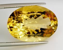 30.48  ct. 100% Natural Top Yellow Golden Citrine Unheated -IGE Certificat