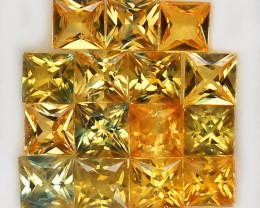 4.44ct.3.7-3.9MM.PRINCESS CUT GOLDEN YELLOW NATURAL SAPPHIRE  15PCS.