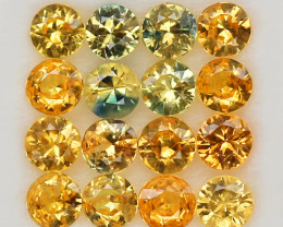 3.99 ct.3.9-4MM.DIAMOND CUT GOLDEN YELLOW NATURAL   SAPPHIRE   16PCS.