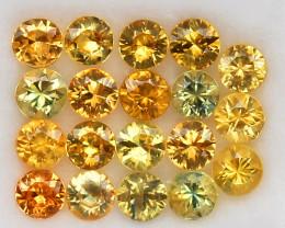 4.08ct.3.7MM.DIAMOND CUT GOLDEN YELLOW NATURAL   SAPPHIRE  19PCS.