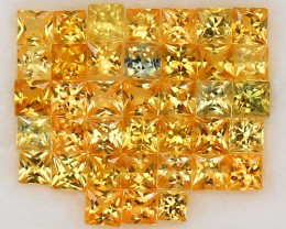 3.80ct.2.3-2.6PRINCESS CUT GOLDEN YELLOW  NATURAL SAPPHIRE   38PCS.