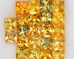 3.99 ct.3.1-3.2MM.PRINCESS CUT GOLDEN YELLOW  NATURAL  SAPPHIRE22PCS