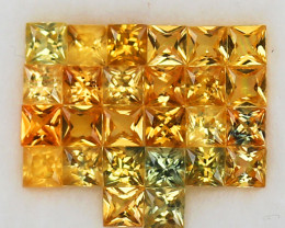 4.10ct.3MM.PRINCESS CUT GOLDEN YELLOW NATURAL SAPPHIRE   26PCS.