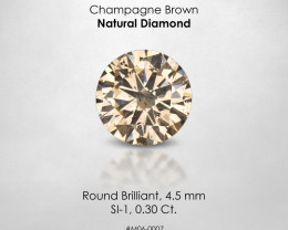 Fancy Champagne Brown Round 0.30 Ct Loose Natural Diamond Solitaire