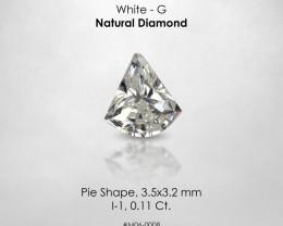 RARE ! Fancy Shape Pie Cut White G 0.11 Ct. Loose Natural Diamond