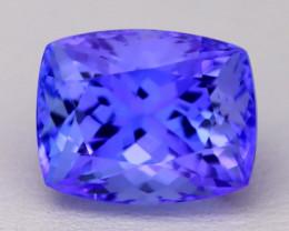 5.66Ct Natural Vivid Blue Tanzanite IF Flawless Cushion Master Cut A2201