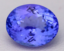 4.51Ct Natural Vivid Blue Tanzanite IF Flawless Oval Master Cut A2203
