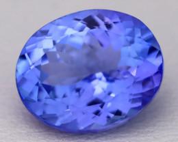 4.48Ct Natural Vivid Blue Tanzanite IF Flawless Oval Master Cut A2204