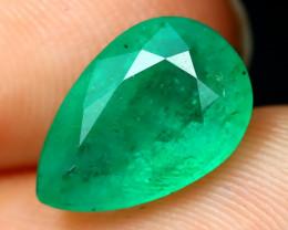 Emerald 2.19Ct Pear Cut Natural Zambian Green Color Emerald A2206