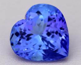4.40Ct Natural Vivid Blue Tanzanite IF Flawless Heart Master Cut A2213